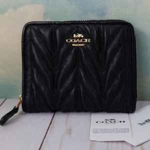 COACH Small Zip Around Quilted Wallet